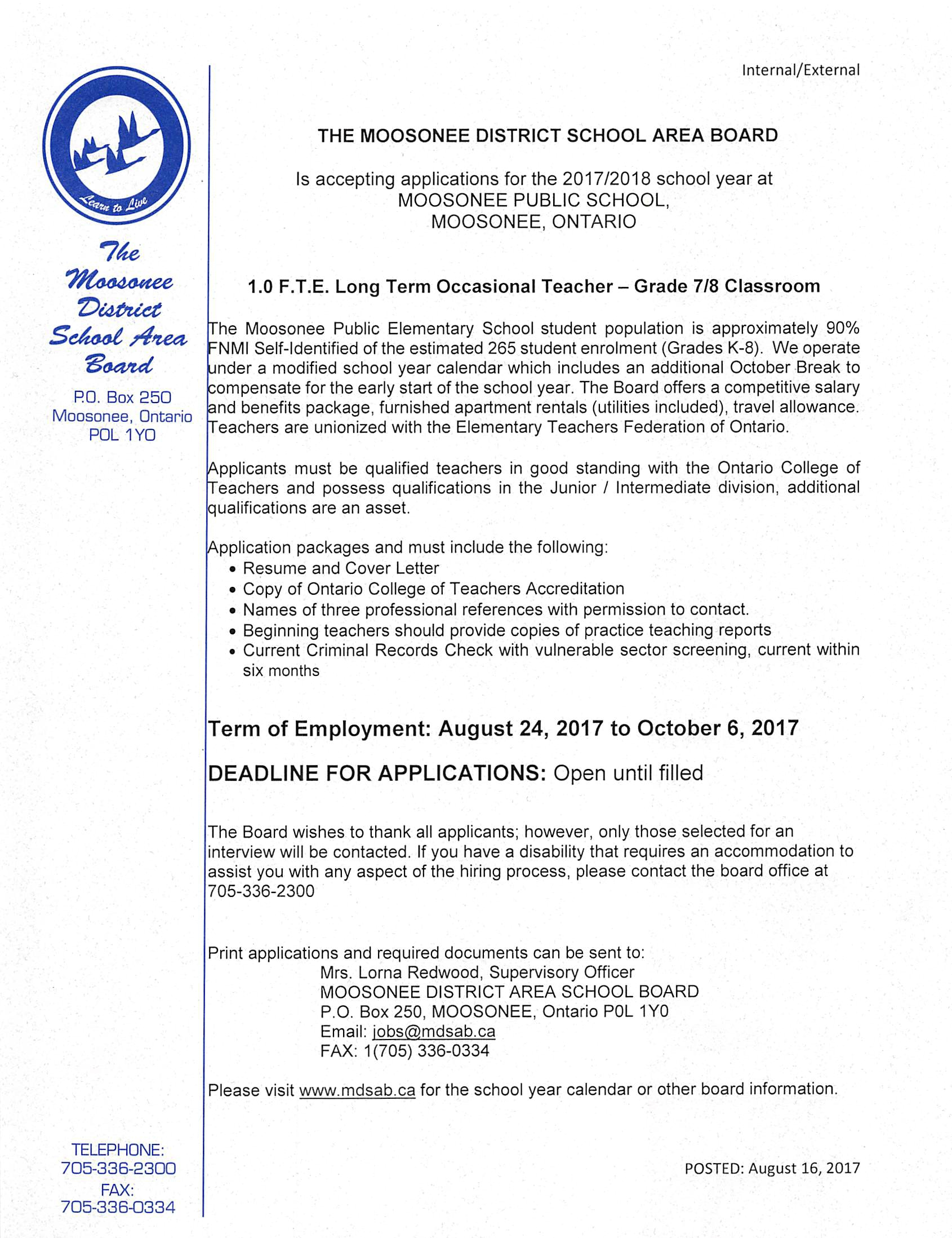 17-18 Long Term Occasional Teacher re-posted Aug 16 2017 – Moosonee ...