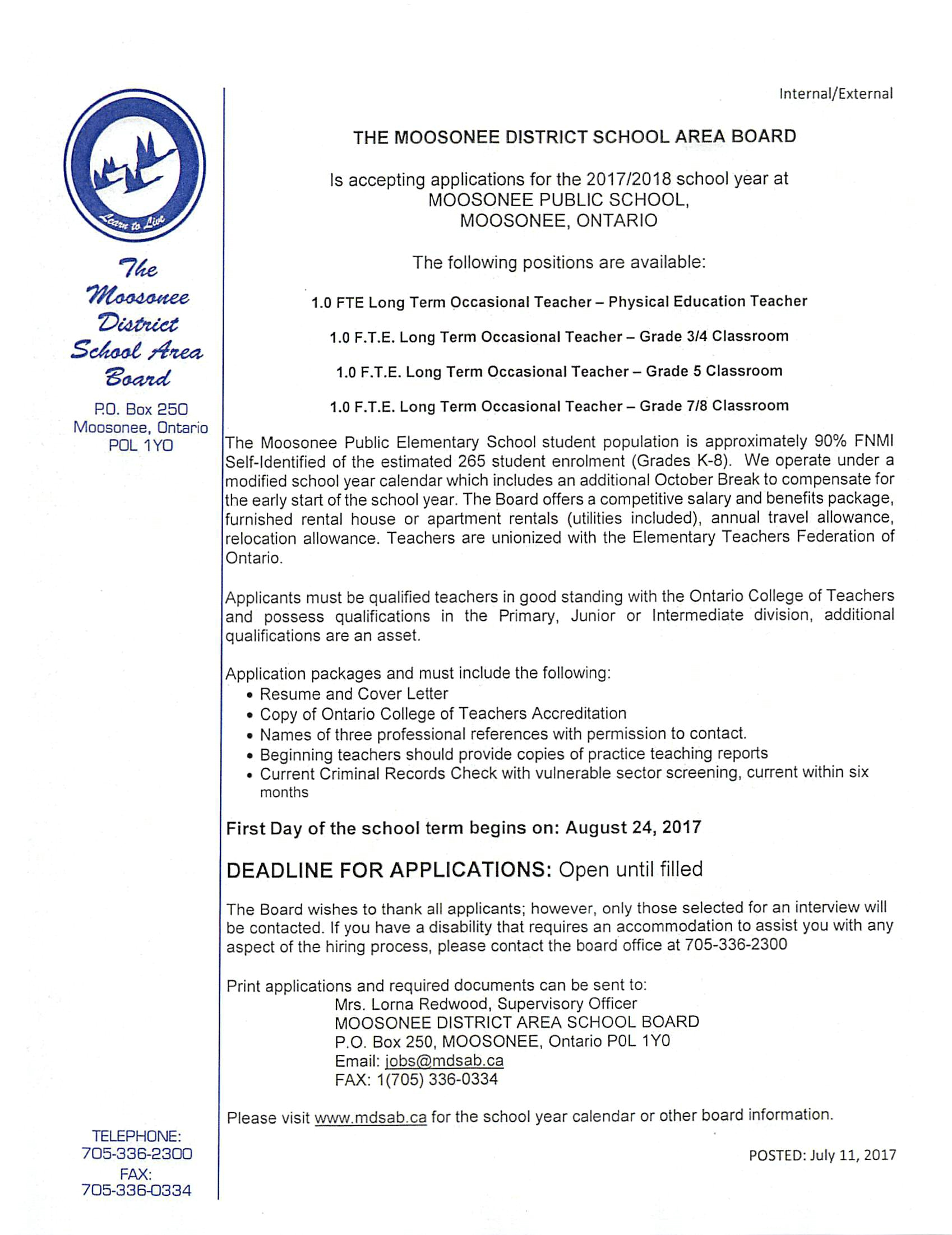2017-2018 Job Posting – Long Term Occasional Teachers (4 Positions ...
